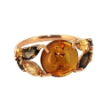 Кольцо, золото, янтарь, цитрин, раух топаз. Ювелирная компания
