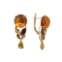 Серьги, золото, янтарь, цитрин, раух топаз. Ювелирная компания