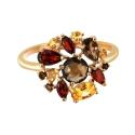 Кольцо, позолоченное серебро, гранат, цитрин, раух топаз. Ювелирная компания