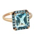 Кольцо, позолоченное серебро, голубой топаз. Ювелирная компания