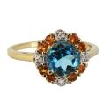 Кольцо, золото, бриллианты. голубой топаз, цитрины. Ювелирная компания