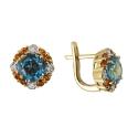 Серьги, золото, бриллианты, голубой топаз, цитрин. Ювелирная компания