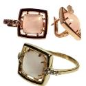 Золото комплект розовый кварц Ювелирная компания МАБЭ
