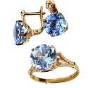 Золото комплект голубой топаз Ювелирная компания МАБЭ