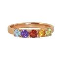Золото кольцо  голубой топаз, аметист, гранат, цитрин, хризолит Ювелирная компания МАБЭ