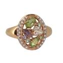 Золото кольцо  голубой топаз, гранат, горный хрусталь, хризолит фианиты  Ювелирная компания МАБЭ