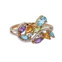 Золото кольцо  голубой топаз, аметист, цитрин, хризолит, фианиты  Ювелирная компания МАБЭ