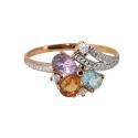 Золото кольцо  аметист, цитрин, голубой топаз, фианиты.  Ювелирная компания МАБЭ