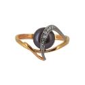 Золото кольцо  черный  жемчуг и фианиты  Ювелирная компания МАБЭ