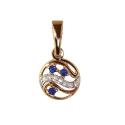 Золото подвеска бриллианты и сапфиры.  Ювелирная компания МАБЭ