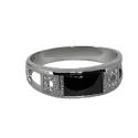 Кольцо  серебро, оникс, фианит.  Ювелирная компания