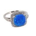 Кольцо  серебро, голубой опал, фианиты.  Ювелирная компания