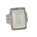 Кольцо  серебро, кварц, фианиты.  Ювелирная компания