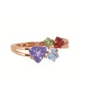 Кольцо  золото, аметист, голубой топаз, хризолит, гранат.  Ювелирная компания