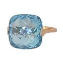 Кольцо  золото, голубой топаз.  Ювелирная компания