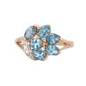 Кольцо  золото, голубой топаз, фианиты.  Ювелирная компания