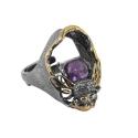 Кольцо, серебро с позолотой, аметист. Ювелирная компания
