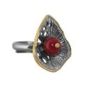Кольцо, серебро с позолотой, коралл. Ювелирная компания