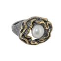 Кольцо, серебро с позолотой, жемчуг. Ювелирная компания