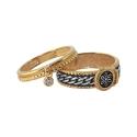 Двойное кольцо, черненое и позолоченное серебро, фианит. Ювелирная компания