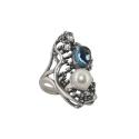 Кольцо, серебро, жемчуг, голубой топаз, фианиты. Ювелирная компания
