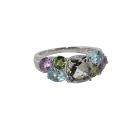 Кольцо, серебро, аметист, голубой топаз, хризолит, горный хрусталь.  Ювелирная компания