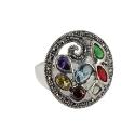 Кольцо, серебро, аметист, голубой топаз, цетрин, гранат, фианиты.  Ювелирная компания
