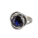 Кольцо, серебро, синий фианит.  Ювелирная компания