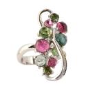 Кольцо  белое золото, турмалины, бриллианты.  Ювелирная компания