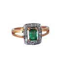 Кольцо, золото, белое золото, изумруд, бриллианты.  Ювелирная компания