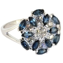 Белое золото кольцо бриллианты и сапфиры. Ювелирная компания МАБЭ.