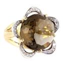Лимонное золото кольцо  раухтопаз и бриллианты.  Ювелирная компания МАБЭ