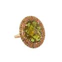 Кольцо, золото, хризолит, фианиты. Ювелирная компания