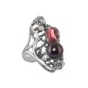Кольцо, серебро, родолит, черный жемчуг. Ювелирная компания