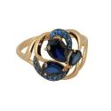 Кольцо, золото, сапфировый корунд, фианиты. Ювелирная компания