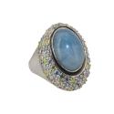 Кольцо, серебро, голубой кальцит, фианиты. Ювелирная компания