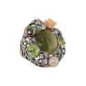 Кольцо, серебро, улексит, хризолит, жемчуг, коралл, фианиты. Ювелирная компания