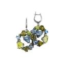 Серьги, серебро, голубой топаз, цитрин, фианиты. Ювелирная компания