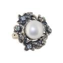 Кольцо, серебро, жемчуг, фианиты. Ювелирная компания