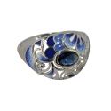 Кольцо, серебро, эмаль, фианит. Ювелирная компания