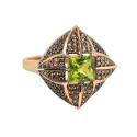 Кольцо, позолоченное серебро, хризолиты, фианиты. Ювелирная компания