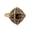 Кольцо, позолоченное серебро, гранат, фианиты. Ювелирная компания