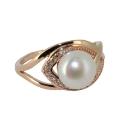 Золото  кольцо  жемчуг фианиты. Ювелирная компания