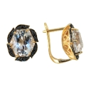 Серьги, золото, белый топаз, черные бриллианты. Ювелирная компания