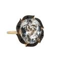 Кольцо, золото, белый топаз, черные бриллианты. Ювелирная компания