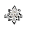 Серебро, кольцо, жемчуг, фианиты.  Ювелирная компания