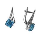 Серебро, серьги, голубой топааз.  Ювелирная компания