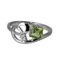 Серебро кольцо хризолит, фианит. Ювелирная компания