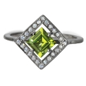 Серебро кольцо хризолит, фианиты. Ювелирная компания