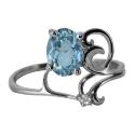 Серебро кольцо голубой топаз,  фианит. Ювелирная компания